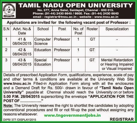 Tamil Nadu Open University TNOU Recruitments (www.tngovernmentjobs.in)