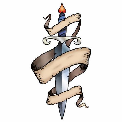 Scroll and dagger tattoo stencil