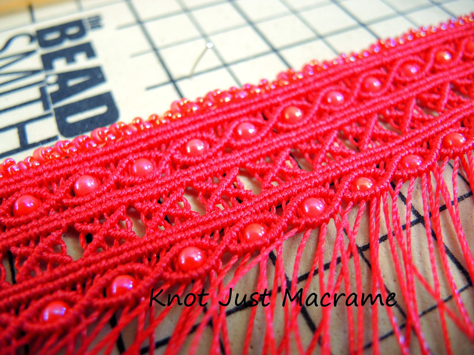 DIY micro macrame cuff in progress
