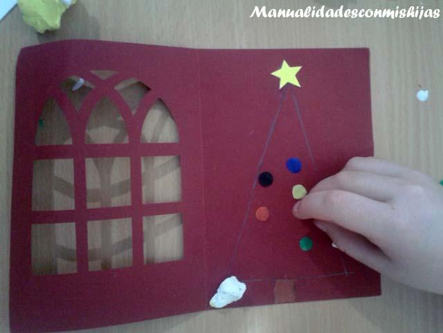 Manualidades con mis hijas tarjeta de navidad con pino de - Manualidades tarjeta navidena ...