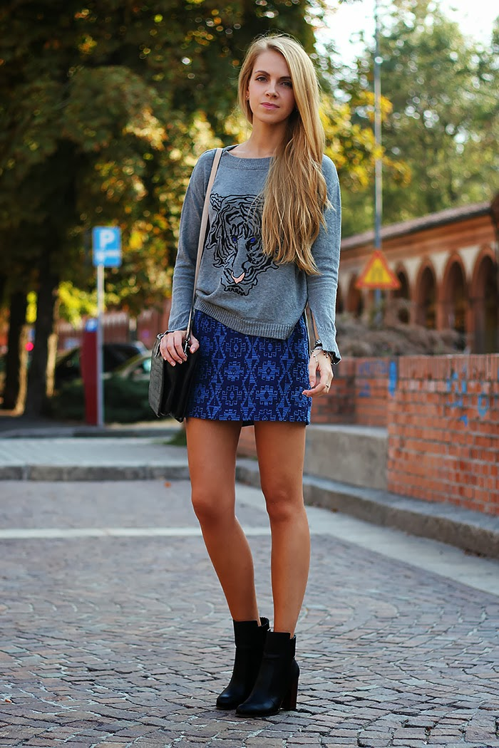 zara skirt. grey and blue, tiger sweater, casual outfit