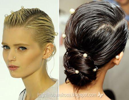 Мокра коса и нисък кок с перли Chanel прически Пролет/Лято 2012