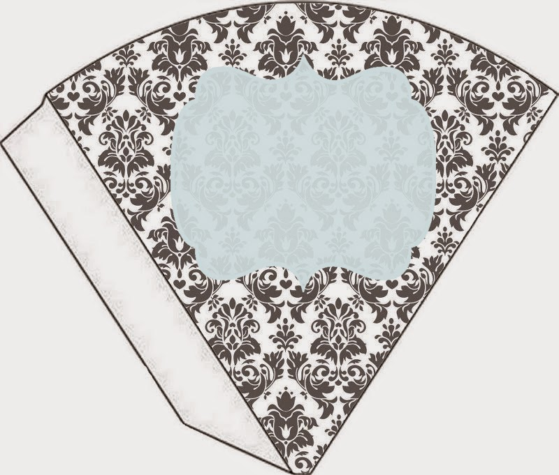 Grey Damasks in Light Blue Free Printable Cones.