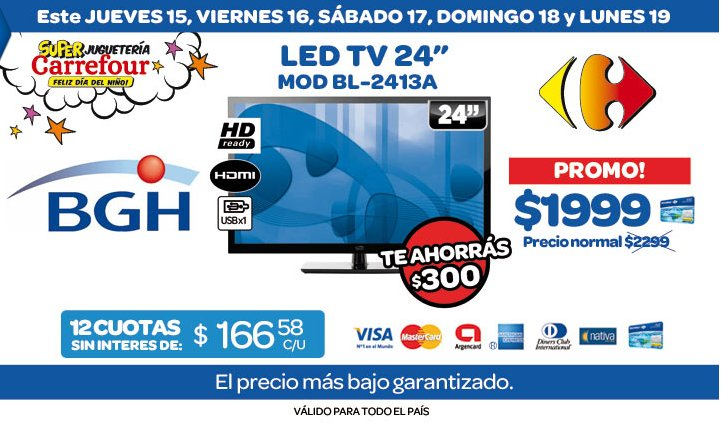 tecno promos argentina promo carrefour led tv bgh 24. Black Bedroom Furniture Sets. Home Design Ideas