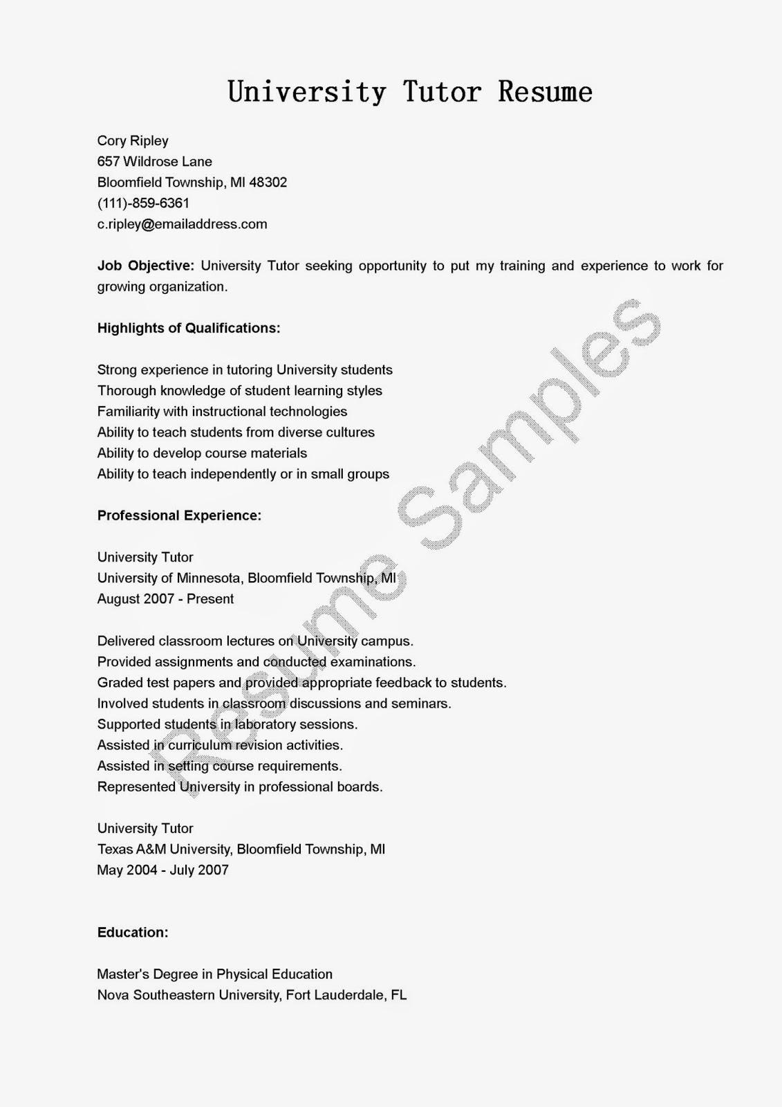 Resume Samples University Tutor Resume Sample