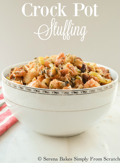 Crock Pot Stuffing is so good you won't miss it being cooked in the Turkey! Filled with fresh herbs and wine the flavor is impeccable. A must have for Thanksgiving and Christmas. serenabakessimplyfromscratch.com