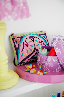 Rie Elise Larsen DK Bright Colourful Lamp Shade and make up pouch