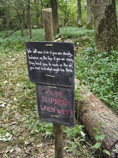 sizergh castle woodland play trail log warning