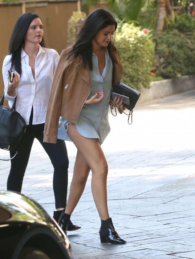 Selena Gomez wore a Topshop suede camel biker jacket