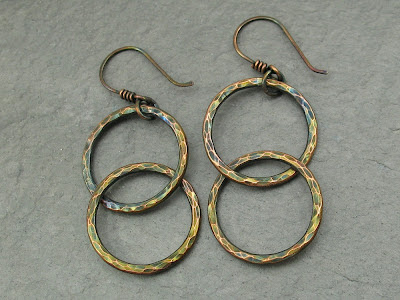 hammered copper double circle link earrings