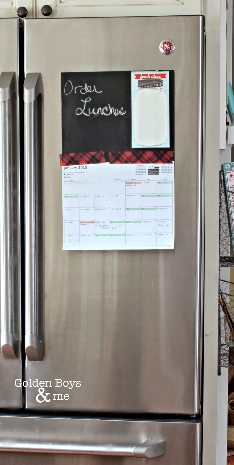 Refrigerator with chalkboard attached using Command Adhesive-www.goldenboysandme.com