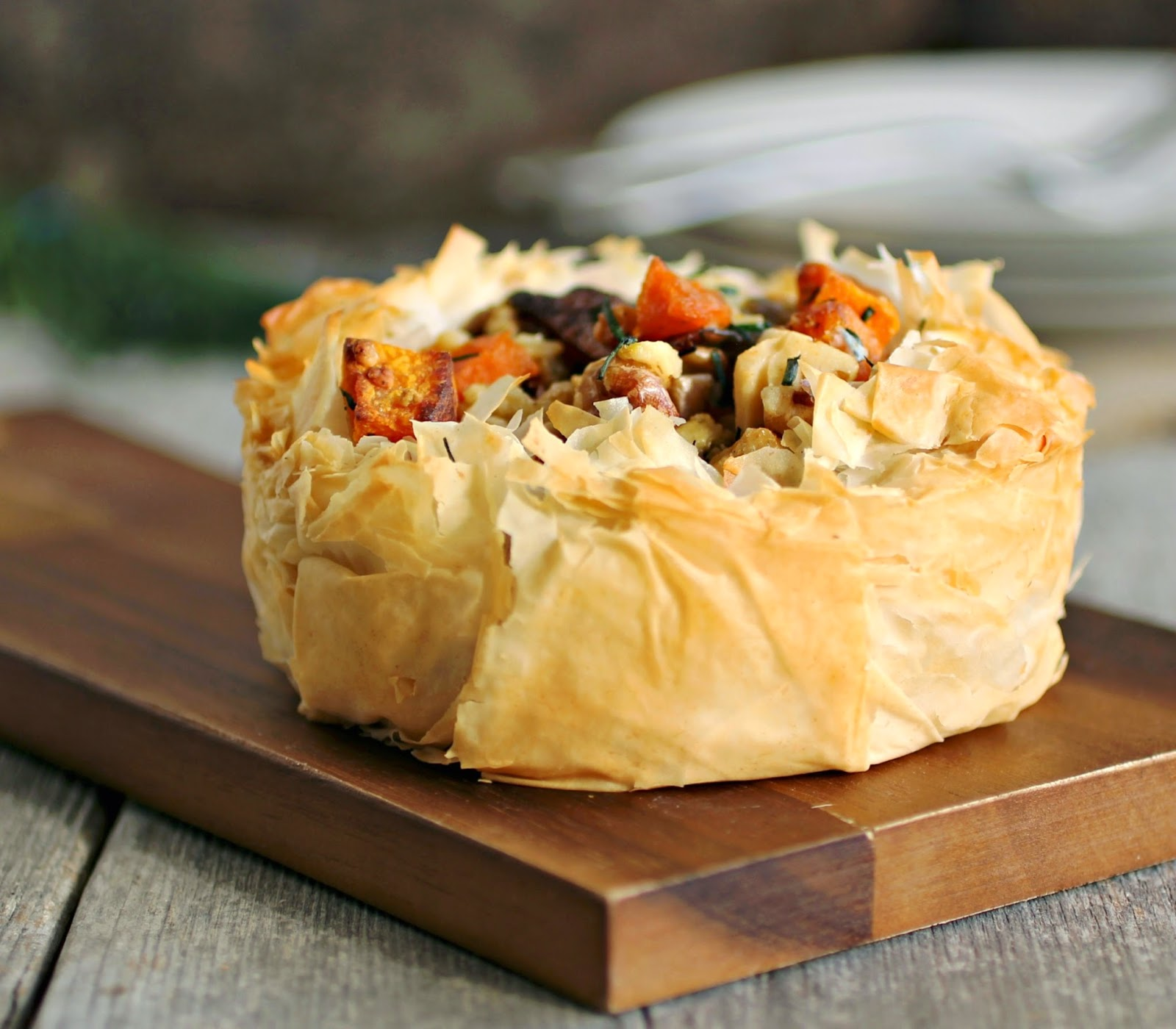 Roasted Squash and Gorgonzola Phyllo Tart