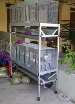 rak aluminium CANGGIH bertingkat beserta sangkar 6 ,5 atau 4 bilik..