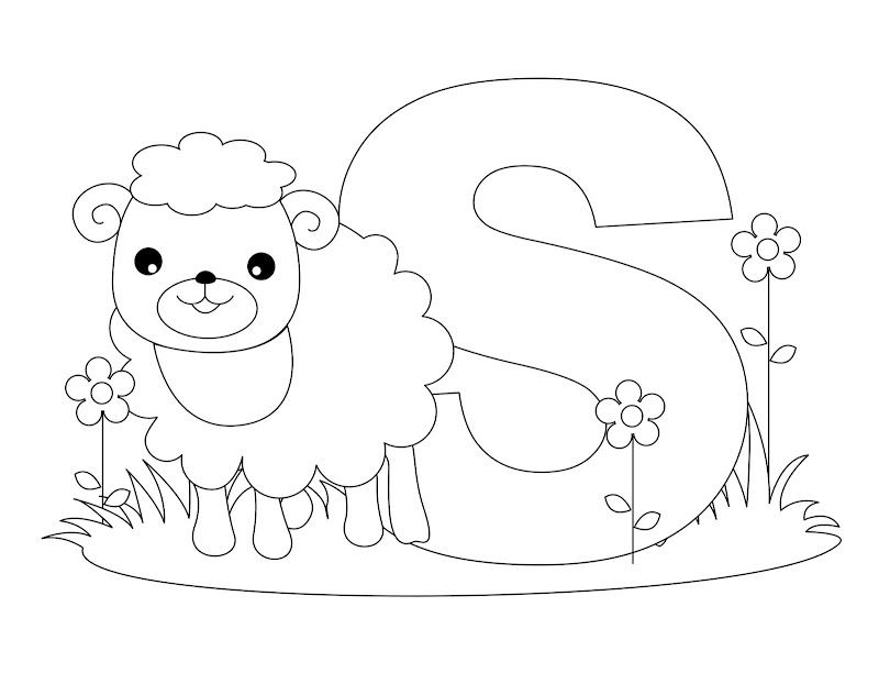 Letter S coloring - Sheep coloring title=