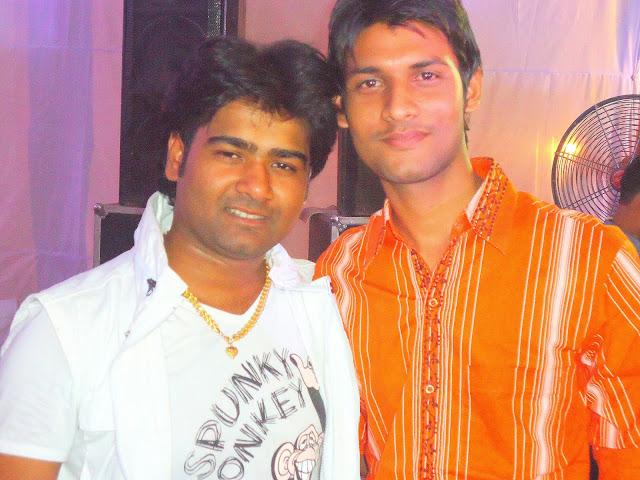 Anshu Dikshant with Bhojpuri Singer Alok Kumar