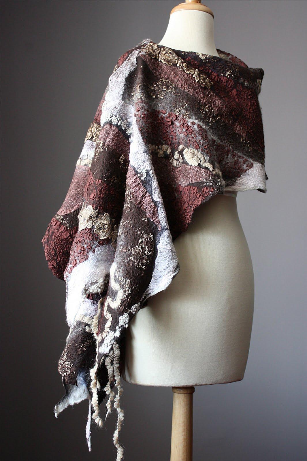 laboratory of fashion large nuno felted shawl scarf wool