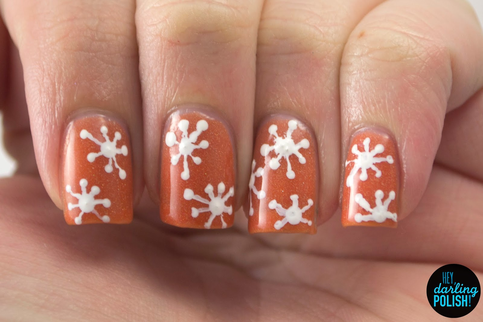indie, indie polish, indie nail polish, nails, nail art, nail polish, polish, holo, hey darling polish, orange, white, snowflakes, the never ending pile challenge, lucky 13 lacquer