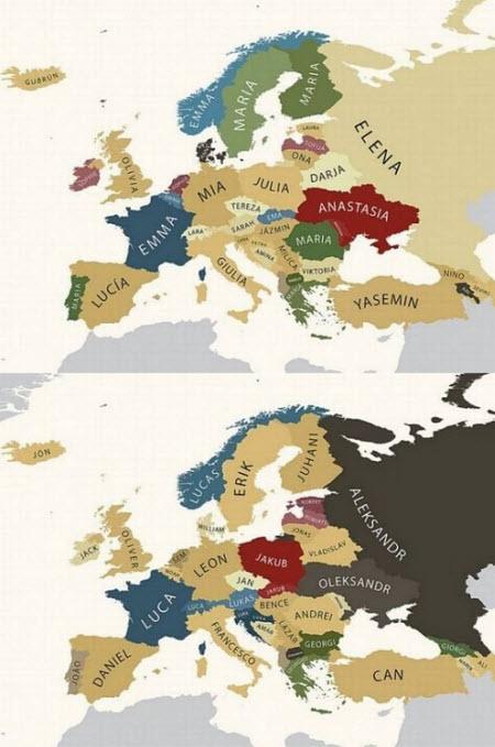 Mapa de los nombres más populares de Europa