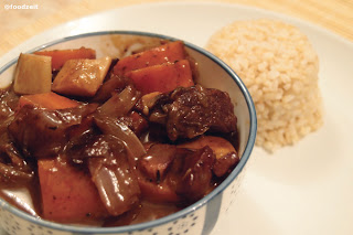 Boeuf Bourguignon served with rice