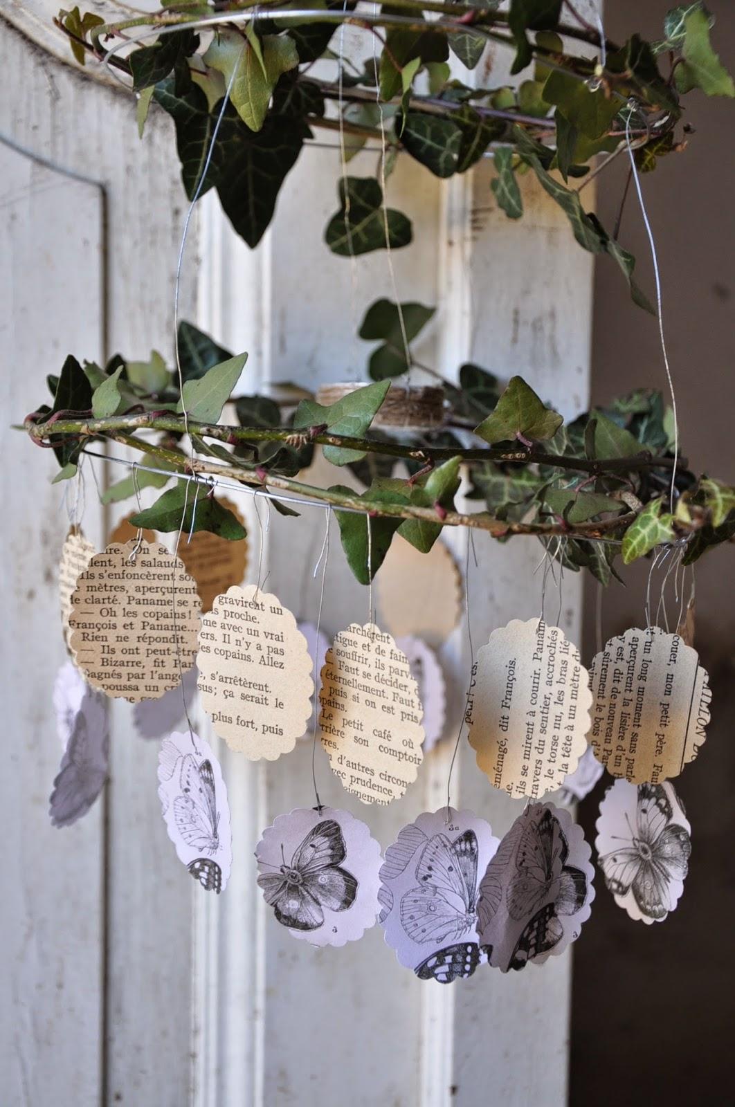 Il Giardino del Brocante: Lampadario fai da te: fil di ferro, edera, farfalle...