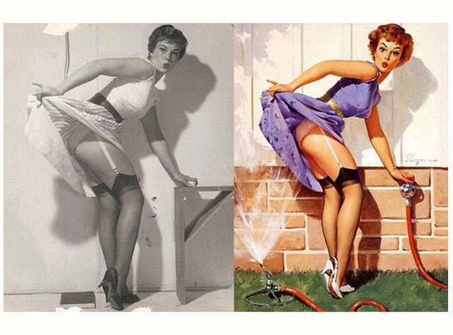 Ünlü Amerikalı ilüstrator Pin-Up Sanatçısı Gil Elvgren çizimleri ve gerçek Pin-up kızları