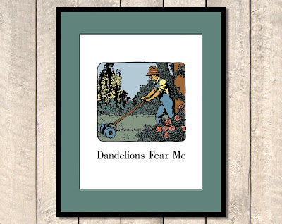 framed illustration of man pushing a lawnmower with text