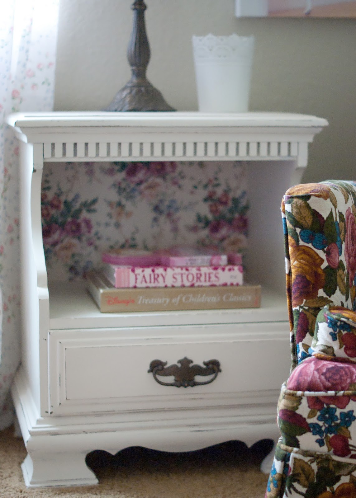 Vintage nightstand and granny chic chair