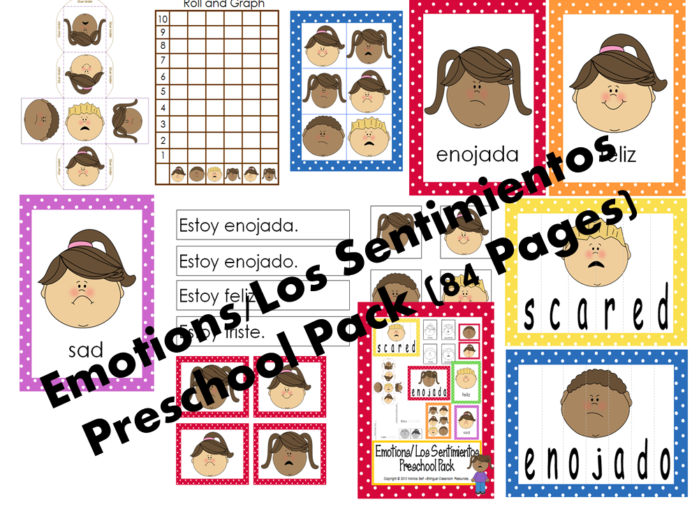 http://www.teacherspayteachers.com/Product/Emotions-Los-Sentimientos-Preschool-Pack-676851