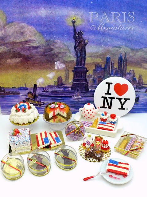 Fourth of July miniature food, cakes, pastries, cookies, candies in 12th scale for dollhouses