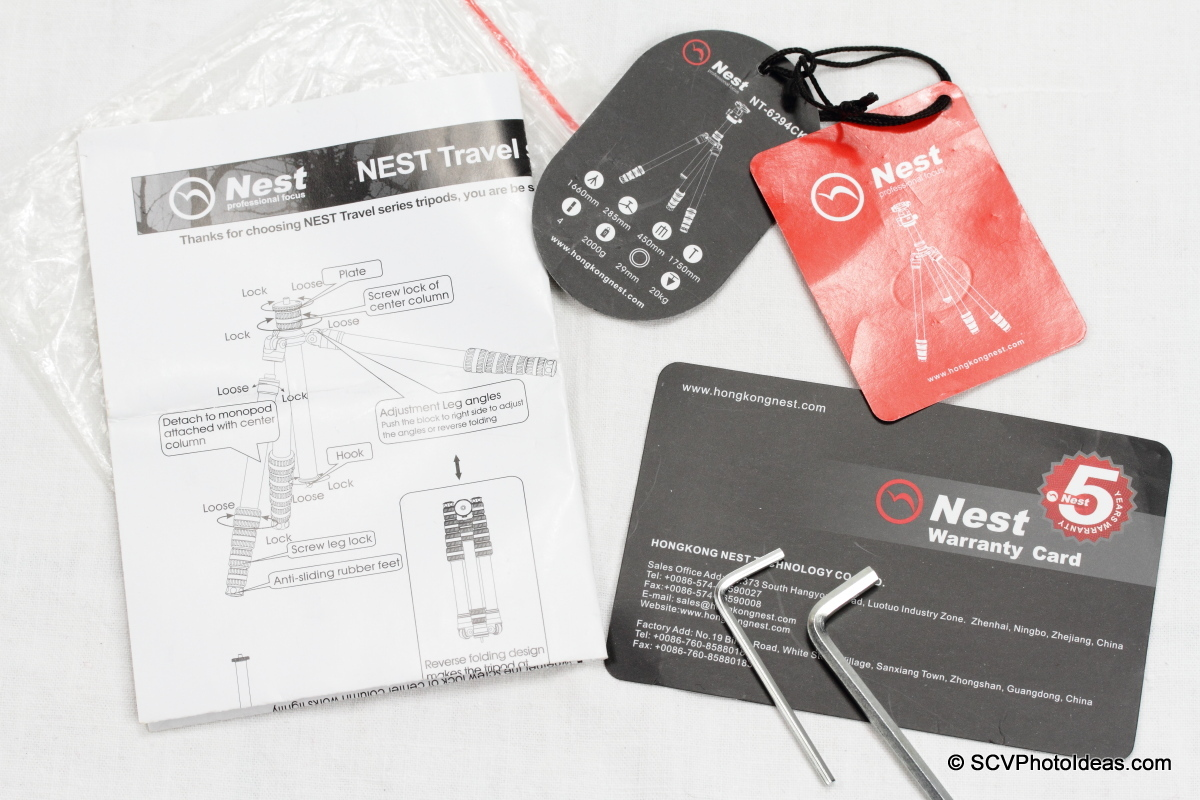 Nest NT-6294CT warranty card, manual, tools