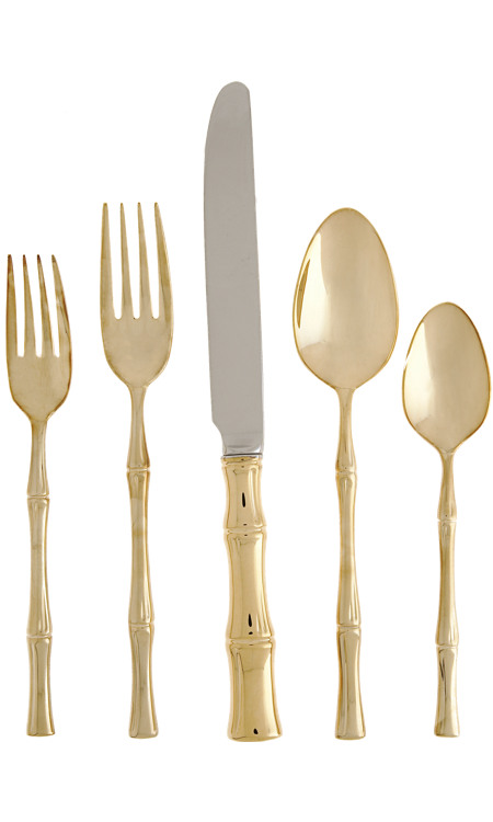 Luxe Report: Look For Less: Gold Bamboo Flatware