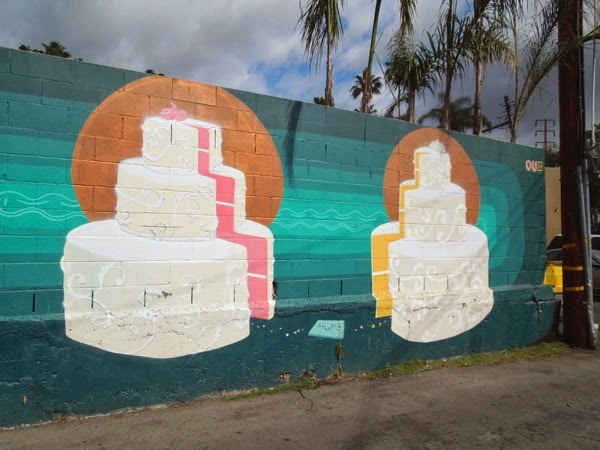 Gay marriage wedding cake wall mural WeHo