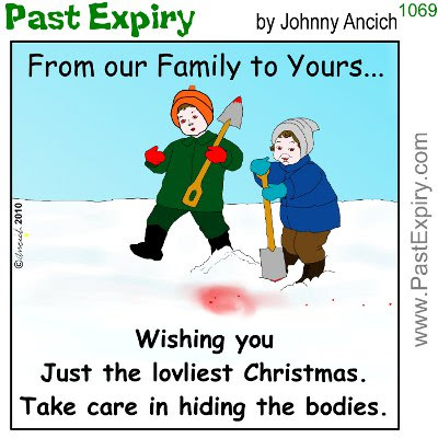 Cartoon about cards, cartoon, christmas, death, holiday, violence