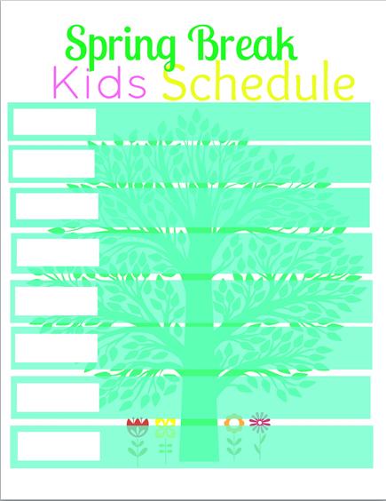 spring break kids schedule printable