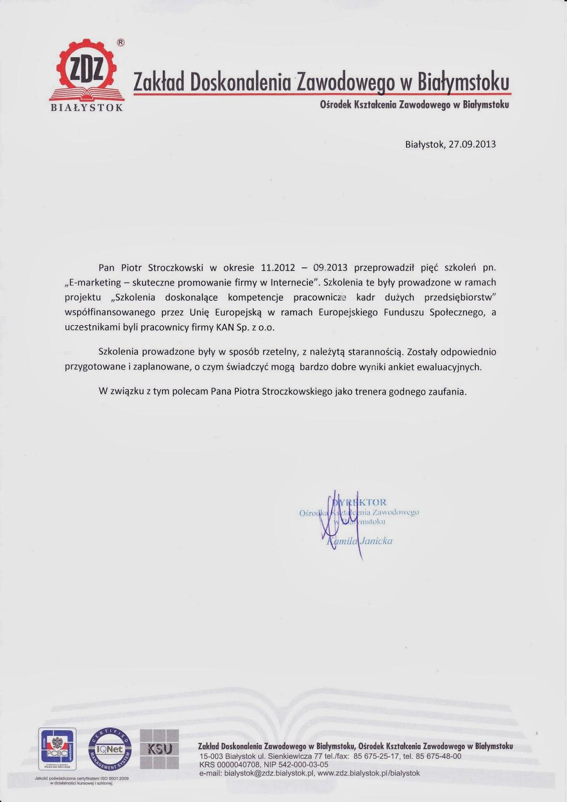 Zakład Doskonalenia Zawodowego w Białymstoku referencje dla MS Consulting