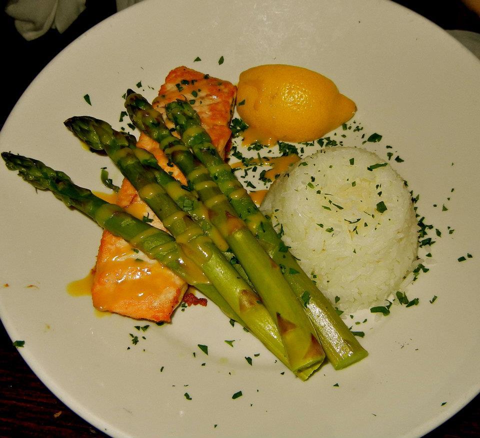 ... roasted maple Dijon glaze, jasmine rice, and asparagus). She said the