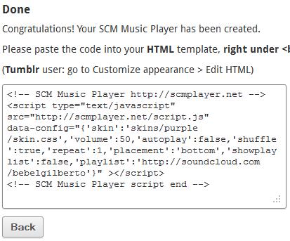 Código do SCM Player