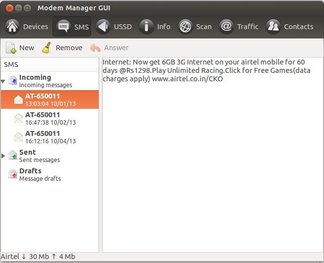 Modem Manager GUI - SMS Panel