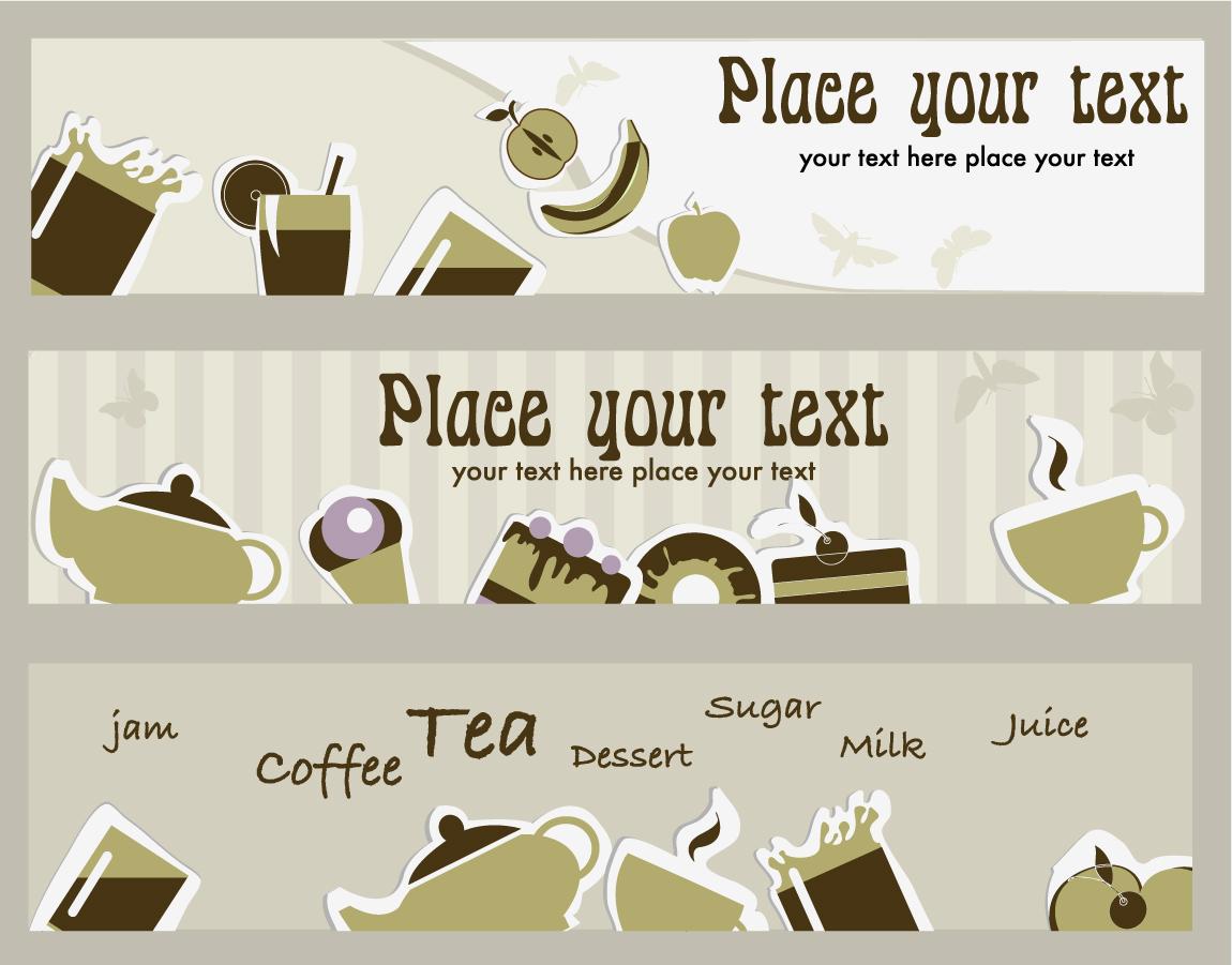 お茶をテーマにしたバナー tea card イラスト素材