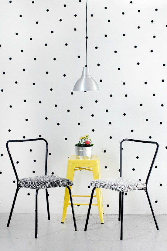 Pop of yellow, dotted wall