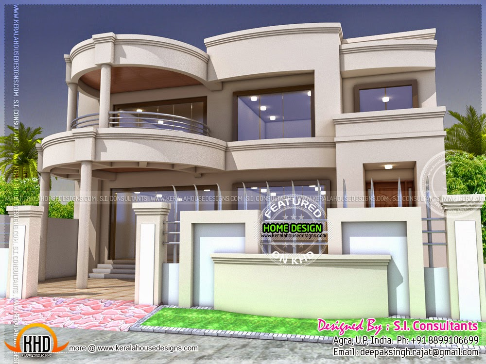 Stylish indian home design and free floor plan kerala for Designs of houses in india