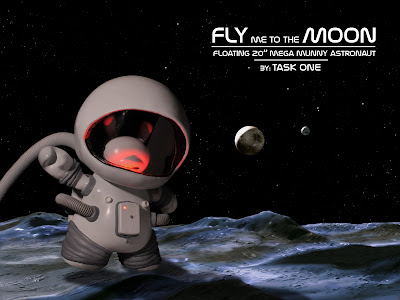 Fly Me To The Moon Astronaut 8 Inch Dunny Custom 20 Inch Mega Munny by Task One
