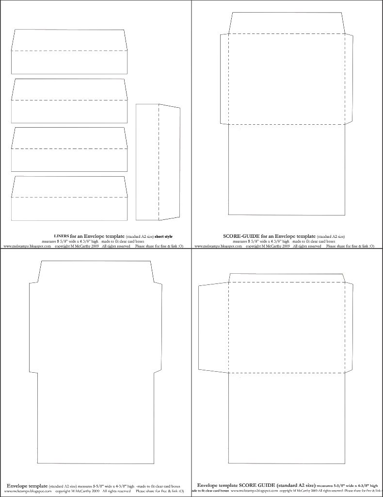Mel Stampz New Envelope Templates Standard A2 Size Two Styles O