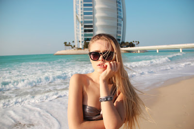 A Girl On beach In Dubai UAE With Different poses