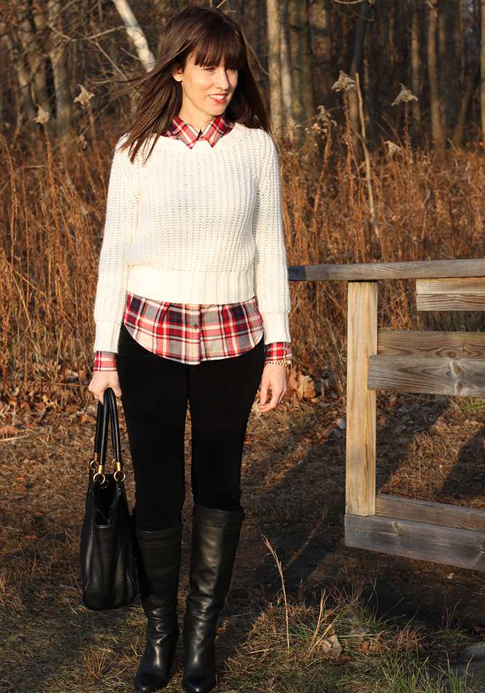 Plaid shirt, tall boots, what to wear winter, michael kors watch