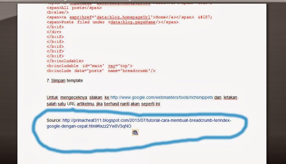 Membuat Sumber Link Otomatis Saat Artikel Di Copy+Paste