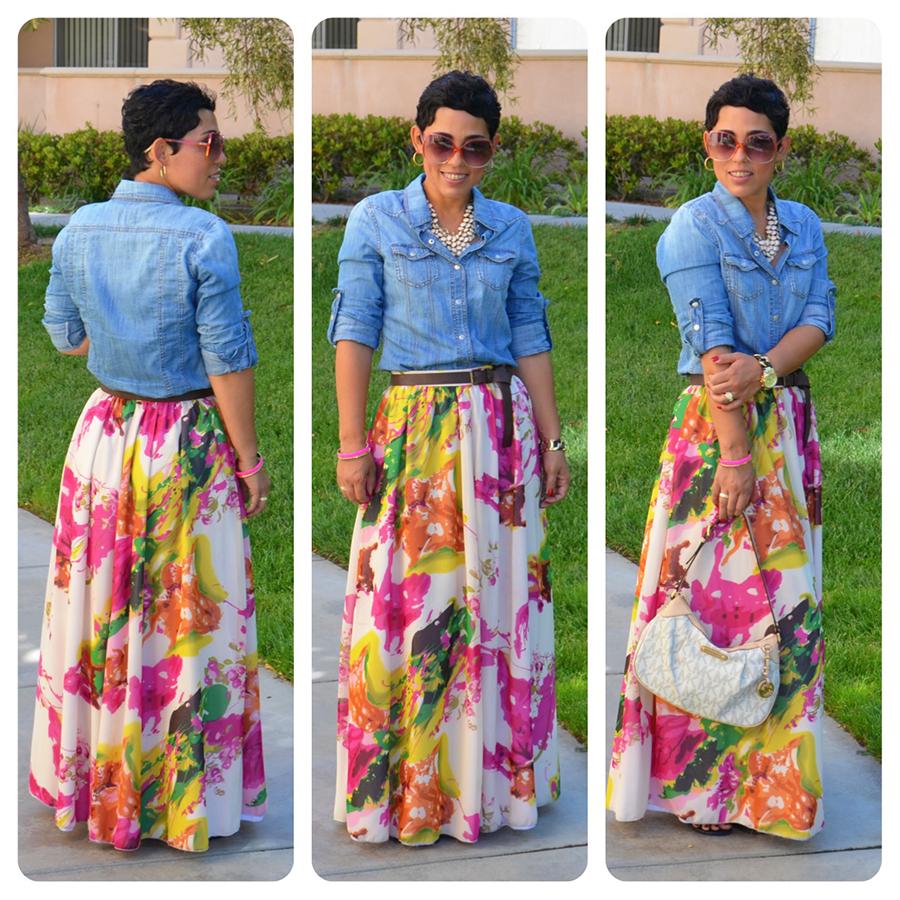 OOTD: DIY Watercolor Maxi Skirt & Denim Shirt   New Recipe ...