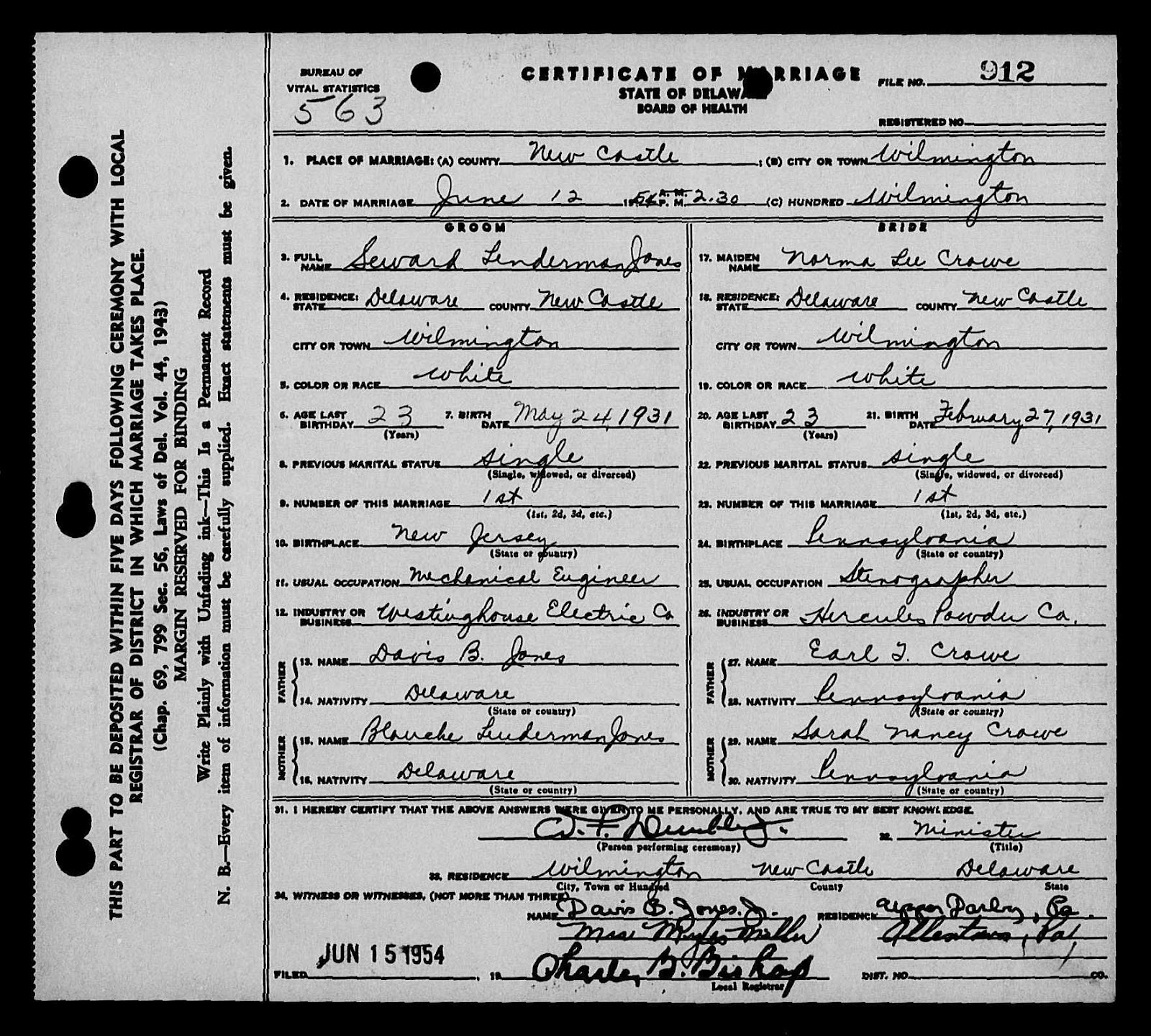 Marriage Records: The Charles Carey Cheesebrough Family