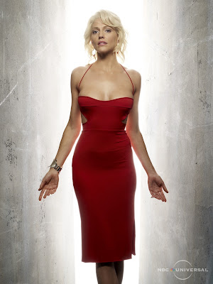 Tricia Helfer Hot Skin Tight Red Dress