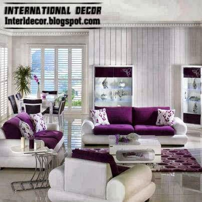 Luxury purple furniture sets sofas chairs for living for White living room chairs